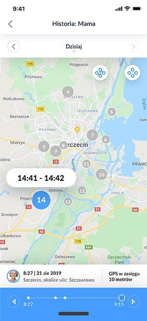 Widok aplikacji Bezpieczna Rodzina z funkcją historia lokalizacji tras i miejsc, w których znajdowała się dziecko