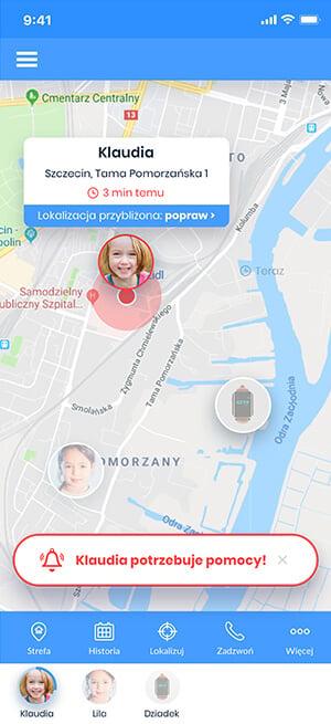 Widok aplikacji Bezpieczna Rodzina z funkcją lokalizacja na żywo