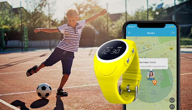 Alarm i strefy bezpieczeństwa w zegarku z gps GJD.03, czyli telefon komórkowy w dłoniach na kolorowym tle