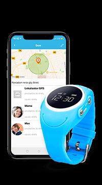 telefon komórkowy z aplikacją Bezpieczna Rodzina i niebieski zegarek z gps dla dziecka model GJD.03 na białym tle