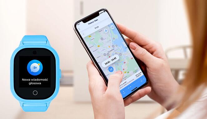 funkcja lokalizacji smartwatcha dla dzieci, czyli zdjęcie kobiecych dłoni trzymających telefon komórkowy, na którym wyświetla się mapa pokazująca lokalizację zegarka