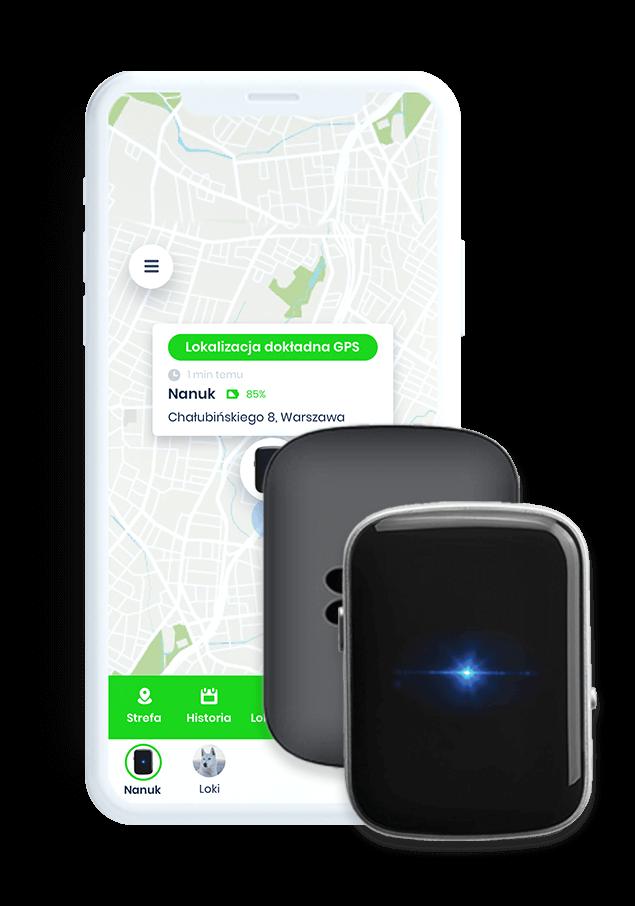 Czarny lokalizator GPS dla psa i aplikacja na telefon opiekuna