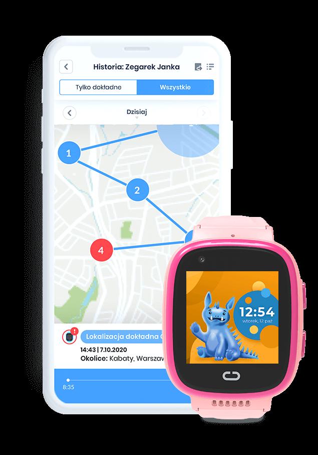 Różowy zegarek GPS Locon Watch Video z aplikacją na telefonie rodzica