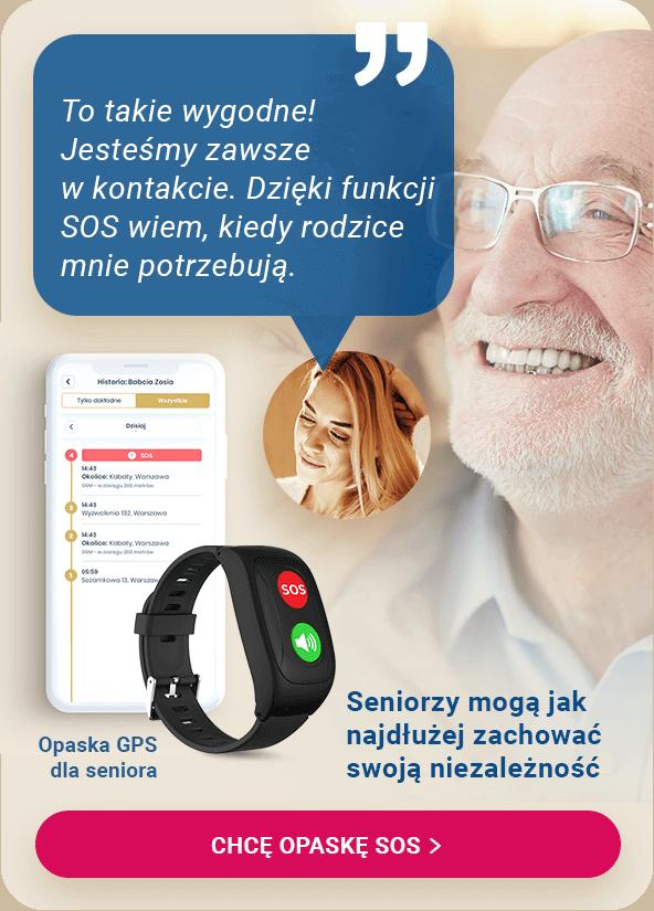 Opaska SOS dla seniora z czujnikiem upadku i aplikacją dla opiekuna