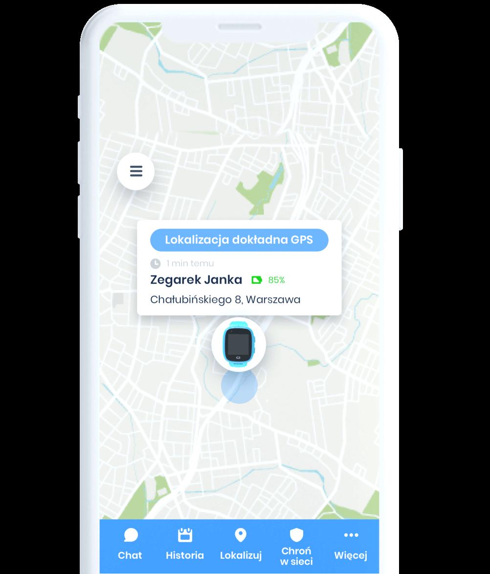 Widok białego telefonu ze screenem z aplikacji Bezpieczna Rodzina przedstawiającego mapę z zaznaczonym miejscem, w którym znajduje się dziecko z zegarkiem GPS LocoWatch