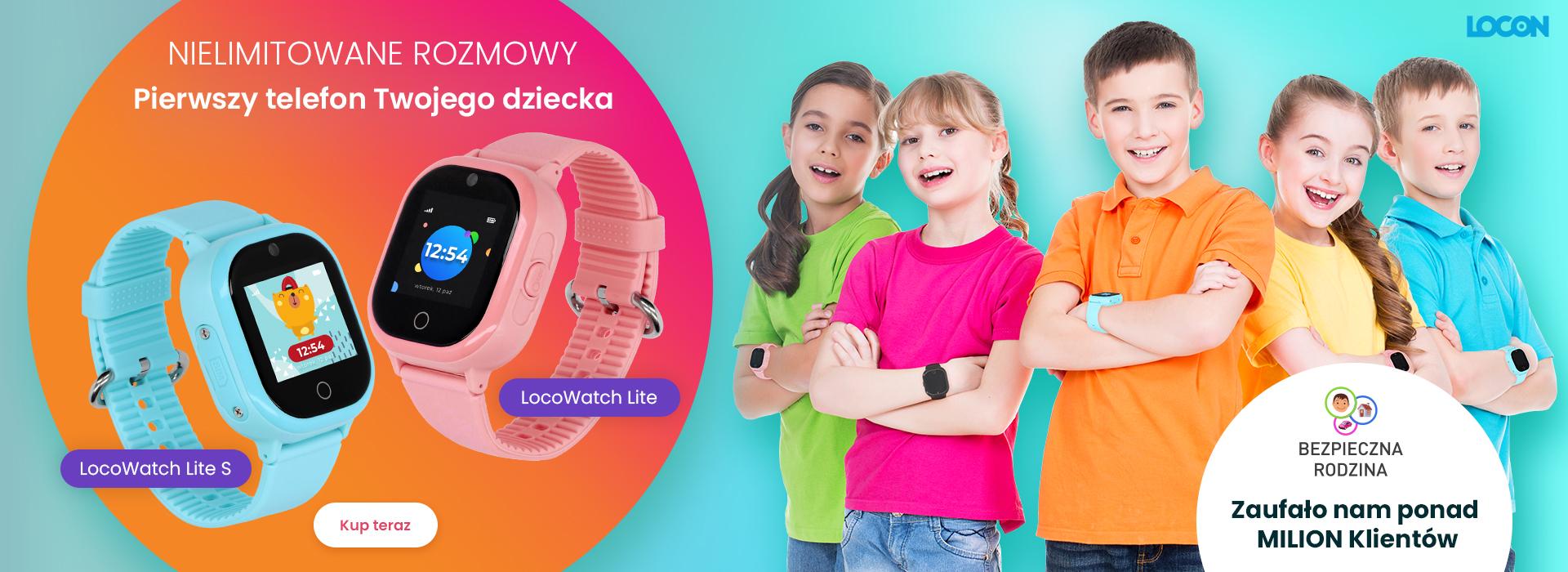 Czworo kilkuletnich dzieci w wieku szkolnym z plecakami i smartwatchami GPS LocoWatch oraz widok trzech zegarków LocoWatch w kolorze niebieskim, różowym i granatowym z kolorowymi tapetami