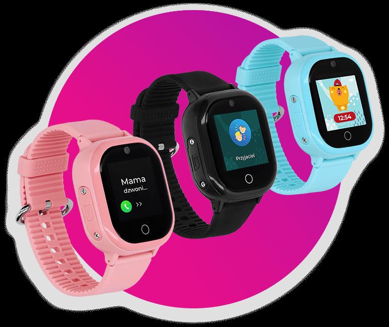 Granatowy Smartwatch GPS dla dzieci LocoWatch na pomarańczowym tle, z wyróżnioną funkcją wideorozmów